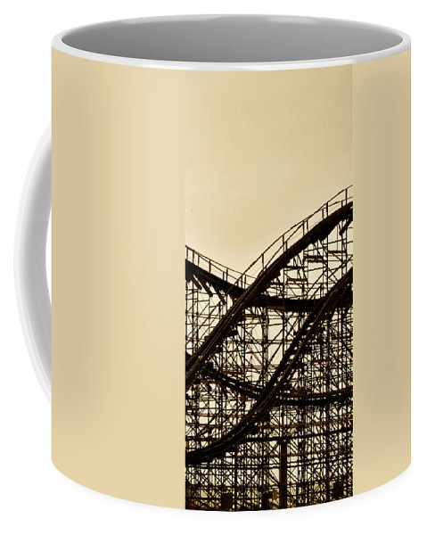 Great White Coffee Mug featuring the photograph Great White Roller Coaster - Adventure Pier Wildwood Nj In Sepia Triptych 2 by Bill Cannon
