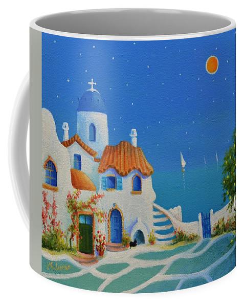 Greek Blue Coffee Mug featuring the painting Greek Blue Santorini A Greek Fairytale by Ray Gilronan
