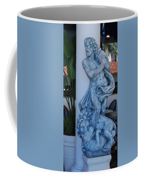 Statue Coffee Mug featuring the photograph Greek Dude And Lion In Blue by Rob Hans