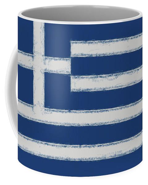 Greece Coffee Mug featuring the digital art Greek Flag Smudged by Roy Pedersen