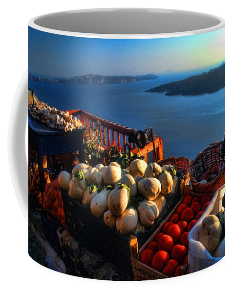 Europe Coffee Mug featuring the photograph Greek Food At Santorini by David Smith