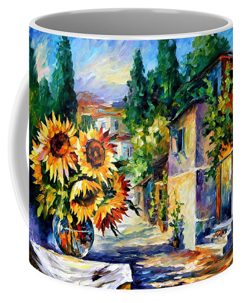 Art Gallery Coffee Mug featuring the painting Greek Noon - Palette Knife Oil Painting On Canvas By Leonid Afremov by Leonid Afremov