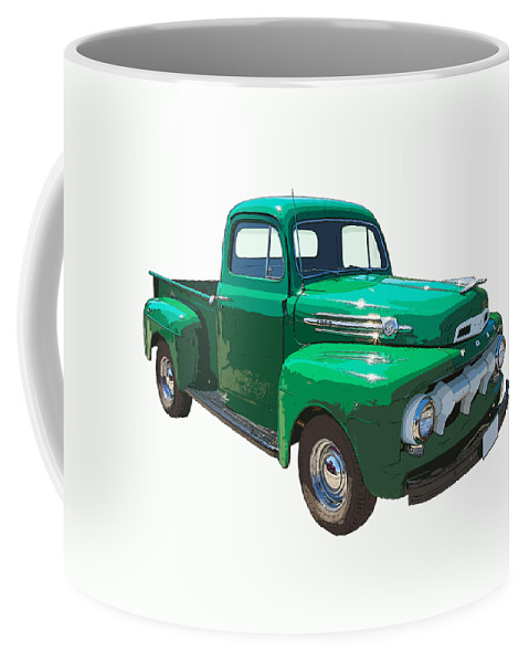 1951 Ford F-1 Pick Up Coffee Mug featuring the photograph Green 1951 Ford F-1 Pick Up Truck Illustration by Keith Webber Jr