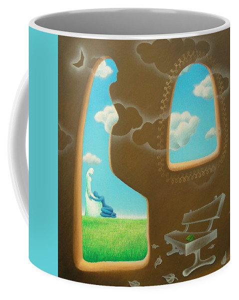 Romantic Coffee Mug featuring the painting Green And Blue by Raju Bose