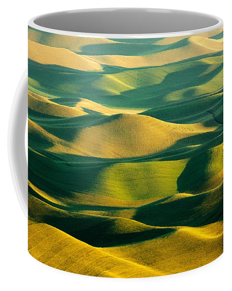 Palouse Coffee Mug featuring the photograph Green And Gold Acres by Todd Klassy