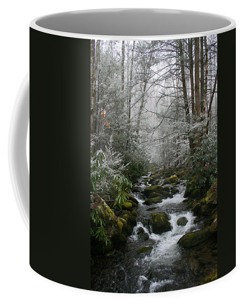 Green Snow Tree Trees Winter Stream River Creek Water Stone Rock Flow Boulder Forest Woods Cold Coffee Mug featuring the photograph Green And White by Andrei Shliakhau