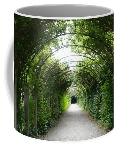 Arbor Coffee Mug featuring the photograph Green Arbor Of Mirabell Garden by Carol Groenen