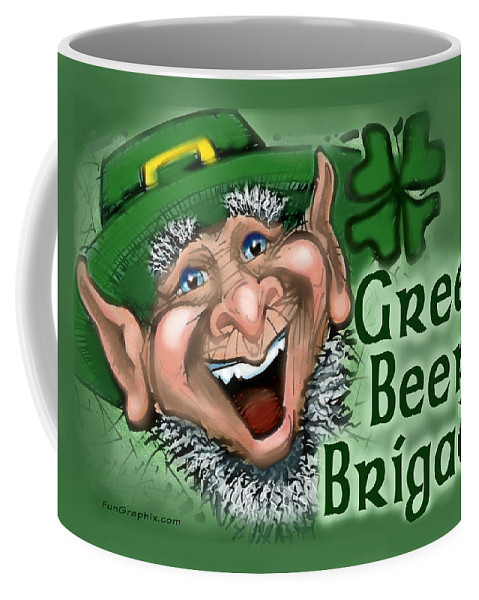Green Beer Coffee Mug featuring the greeting card Green Beer Brigade by Kevin Middleton
