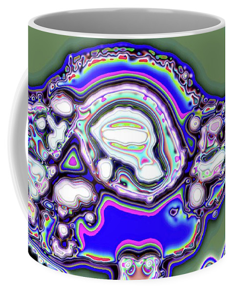 Abstract Coffee Mug featuring the digital art Green Bloom by Ron Bissett