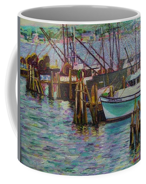 Boat Coffee Mug featuring the painting Green Boat At Rest- Nova Scotia by Richard Nowak