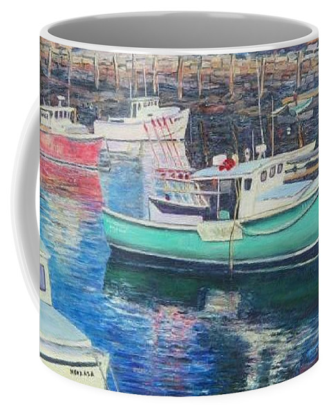 Water Coffee Mug featuring the painting Green Boat Reflections by Richard Nowak