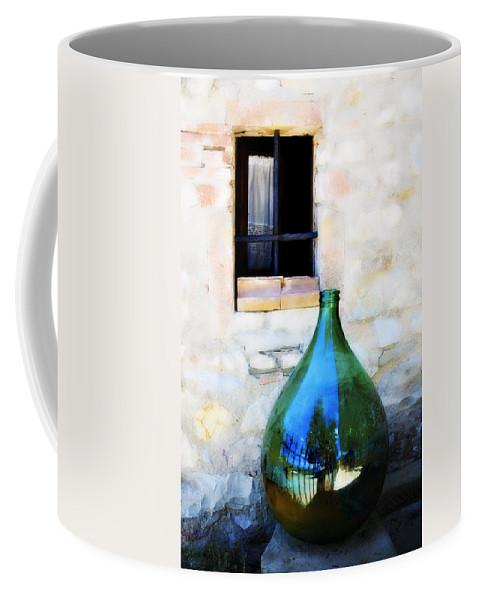 Bottle Coffee Mug featuring the photograph Green Bottle Italian Window by Marilyn Hunt