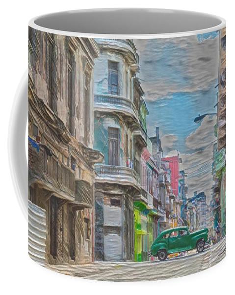 Cuba Coffee Mug featuring the digital art Green Car In Cuba by David Frigerio