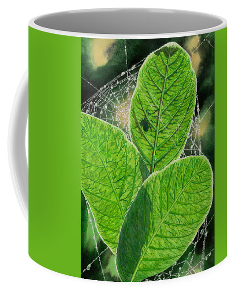 Spider Coffee Mug featuring the painting Green by Catherine G McElroy