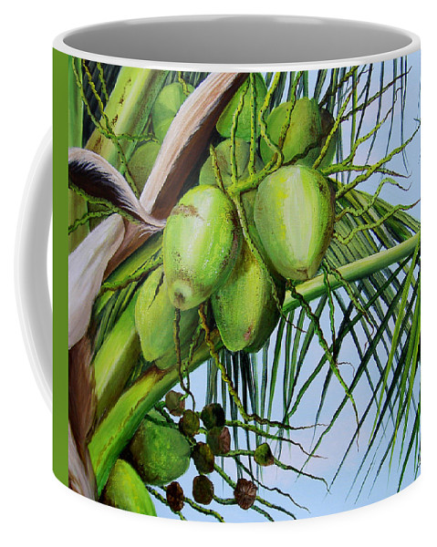 Greencoconuts Coffee Mug featuring the painting Green Coconuts-02 by Dominica Alcantara