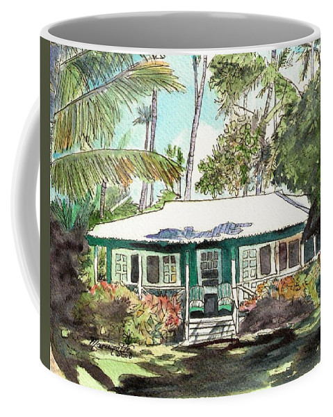 Cottage Coffee Mug featuring the painting Green Cottage by Marionette Taboniar