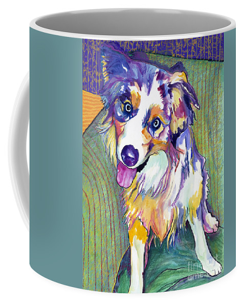 Pat Saunders-white Coffee Mug featuring the painting Green Couch  by Pat Saunders-White