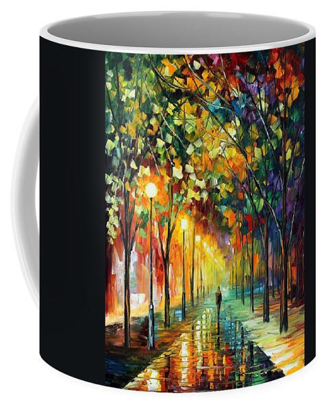 Afremov Coffee Mug featuring the painting Green Dreams by Leonid Afremov