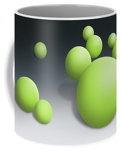 Abstract Coffee Mug featuring the digital art Green Globules by Dean Pratali