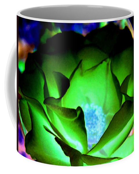 Rose Coffee Mug featuring the digital art Green Glow by Will Borden