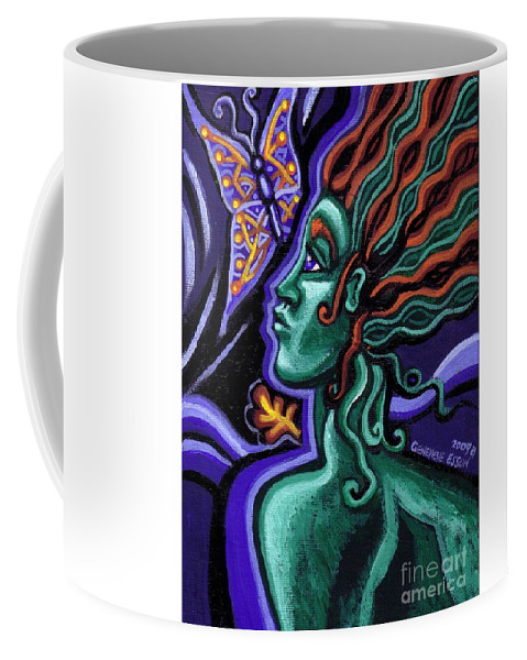 Green Goddess Coffee Mug featuring the painting Green Goddess With Butterfly by Genevieve Esson