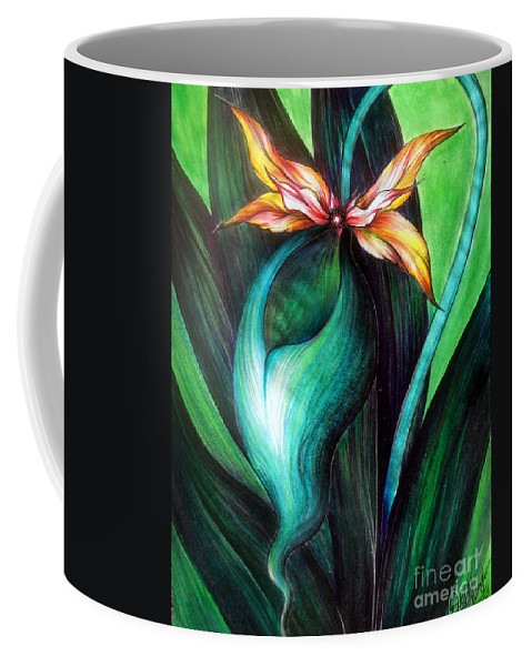 Orchid Coffee Mug featuring the painting Green Golden Exotic Orchid Flower by Sofia Metal Queen