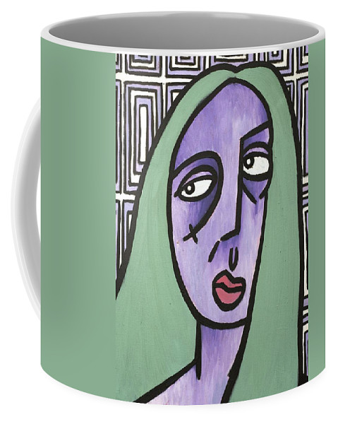 Clay Coffee Mug featuring the painting Green Hair by Thomas Valentine