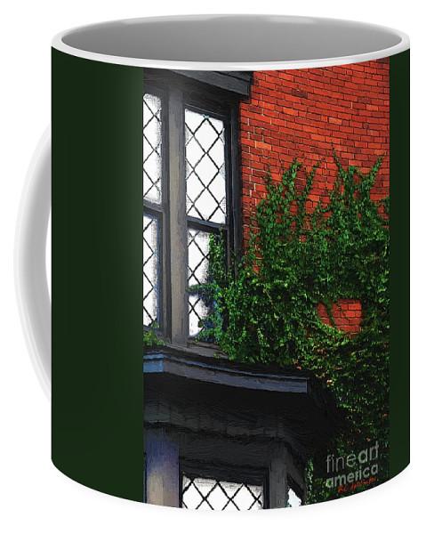 Brick Coffee Mug featuring the painting Green Ivy Garnet Brick by RC DeWinter