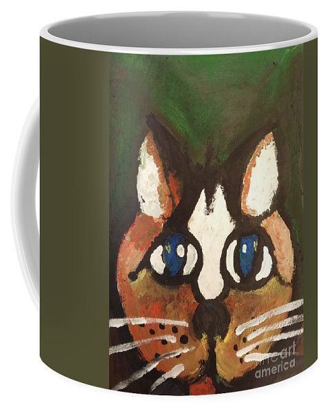Cat Coffee Mug featuring the painting Green by Kevin Sweeney