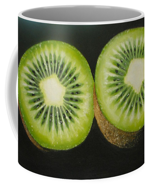 Kiwi Coffee Mug featuring the painting Green Kiwi Oil Painting by Natalja Picugina