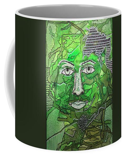Green Coffee Mug featuring the mixed media Green Man by Regina Jeffers