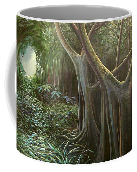 Barbados Coffee Mug featuring the painting Green Mansions by Hunter Jay