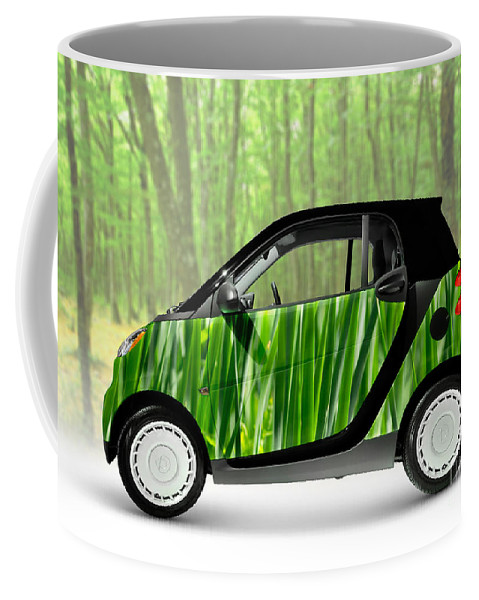 Smart Coffee Mug featuring the photograph Green Mini Car by Maxim Images Prints