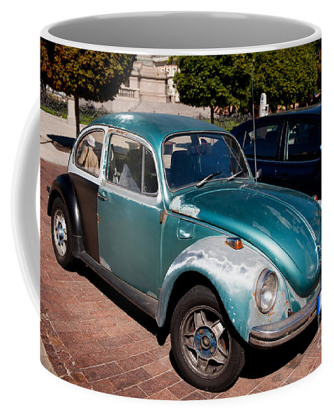 Antique Coffee Mug featuring the photograph Green Old Vintage Volkswagen Car by Arletta Cwalina