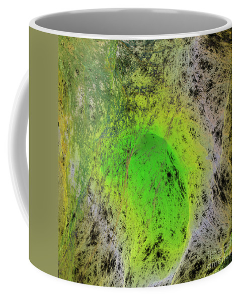 Abstract Coffee Mug featuring the digital art Green On Center Stage by Deborah Benoit