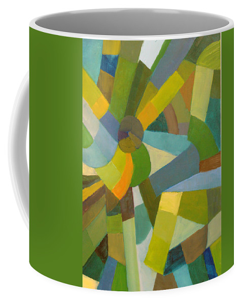 Green Coffee Mug featuring the painting Green Pallette by Art Nomad Sandra Hansen
