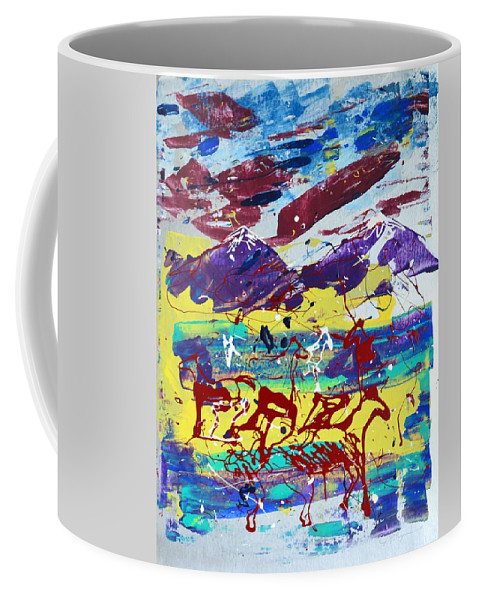 Horses Grazing Coffee Mug featuring the painting Green Pastures And Purple Mountains by J R Seymour