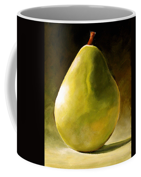 Green Coffee Mug featuring the painting Green Pear by Toni Grote