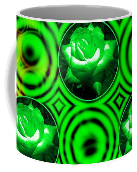 Green Roses Coffee Mug featuring the mixed media Green Polka Dot Roses Fractal by Rose Santuci-Sofranko