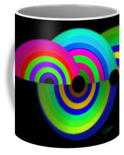 Rainbow Coffee Mug featuring the painting Green Rainbow by Charles Stuart