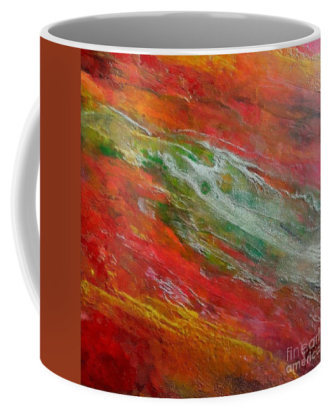 Abstract River Coffee Mug featuring the painting Green River by Dragica Micki Fortuna