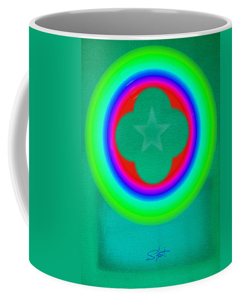 Abstract Coffee Mug featuring the painting Green See by Charles Stuart