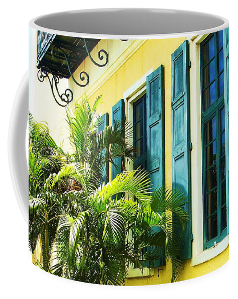 Architecture Coffee Mug featuring the photograph Green Shutters by Debbi Granruth