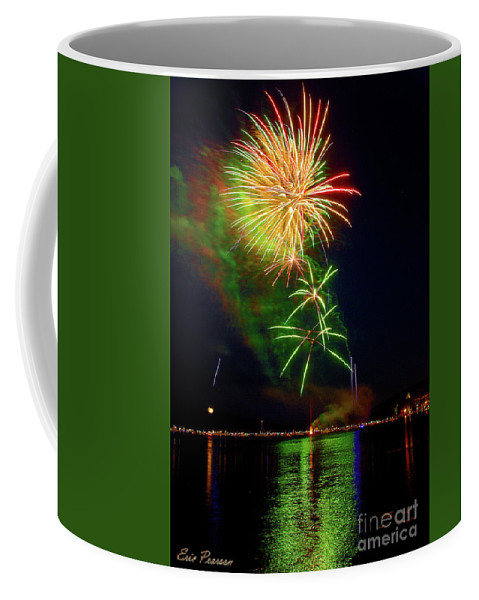 Fireworks Coffee Mug featuring the photograph Green Sky by Eric Pearson