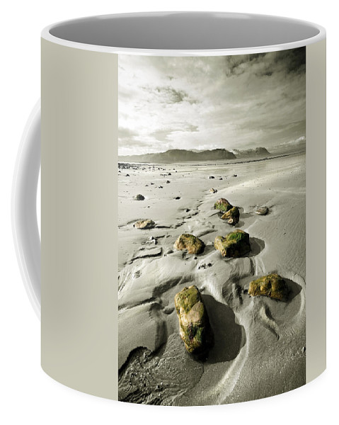 Beach Coffee Mug featuring the photograph Green Stones On A North Wales Beach by Mal Bray