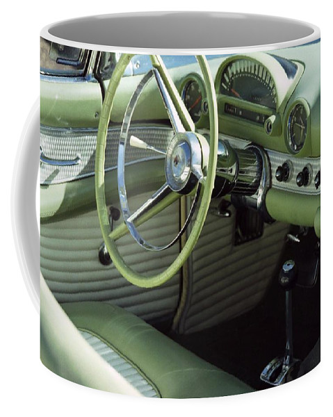 Photography Coffee Mug featuring the photograph Green Thunderbird Wheel And Front Seat by Heather Kirk