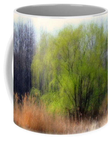 Scenic Art Coffee Mug featuring the photograph Green Tree by Linda Sannuti