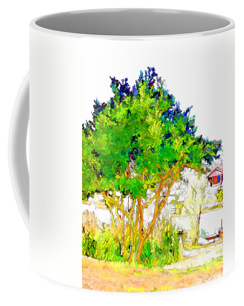 Green Trees By The Lake Coffee Mug featuring the painting Green Trees By The Lake by Jeelan Clark