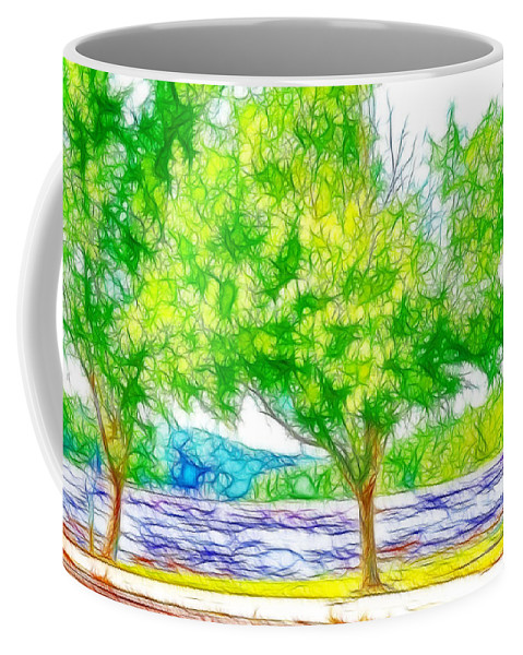 Lake Coffee Mug featuring the painting Green Trees By The Water 3 by Jeelan Clark
