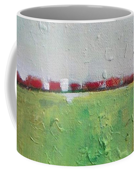Abstract Coffee Mug featuring the painting Green Valley by Vesna Antic